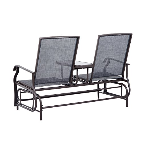 Outsunny 2 person outdoor mesh fabric patio double glider for Outdoor furniture upholstery