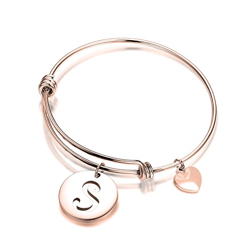 Bracelet Heart Initials (ENSIANTH Rose Gold Initial Bracelet Stainless Steel Letters Bangle Adjustable Bracelet with Heart Charm (S))