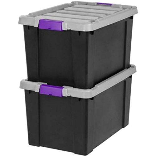 Modular Purple Store-It-All Series Heavy Duty 18gal Storage Container Boxes, 2-Pack