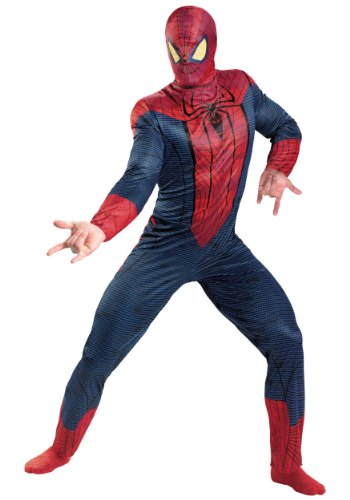 Disguise Mens Amazing Spiderman Superhero Theme Halloween Party Costume, L (42-46) (Adult Amazing Spiderman Costume)