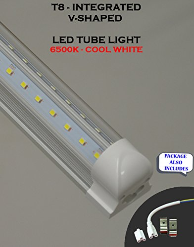 (Pack of 10 Lights) T8 Integrated 4 Feet 36 Watt 4850 Lumens ETL Listed V Shaped (270 Degrees Viewing Angle) 6500K Clear Lens Plug and Play Tube Light for Cooler Freezer by Plan Hoot (Image #5)