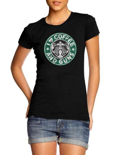 I HEART COFFEE AND GUNS T-SHIRT S Black Girly Tee