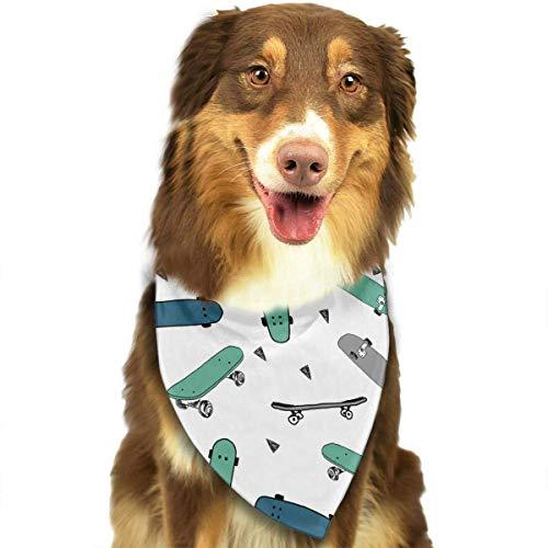 Angel kuy Dog Bandana Green Blue Skateboard Triangle Bibs Scarf Printing Kerchief Set Accessories Dogs Cats Pets ()