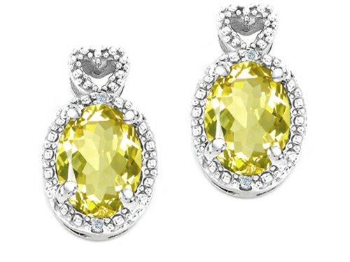 Tommaso Design Oval 7x5mm Genuine Lemon Quartz Earrings 14 kt White Gold