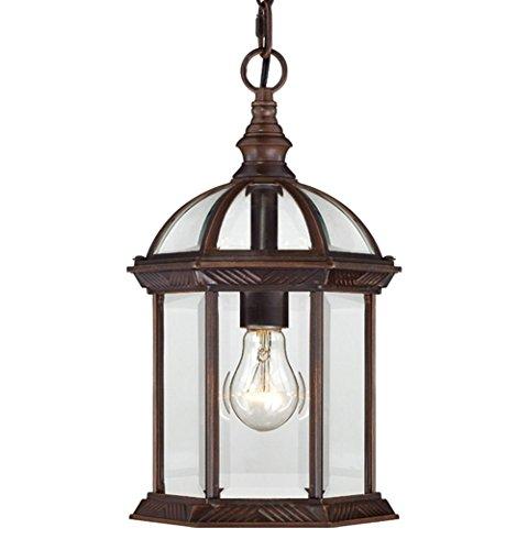 1 Light Outdoor Lantern (One Light Hanging Lantern 100 Watt A19 Max. Clear Beveled Glass Tea Bronze Outdoor Fixture)