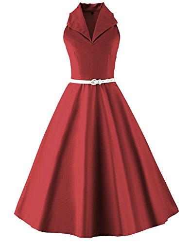 Tecrio Vintage 50s 60s Audrey Hepburn Sleeveless V-Neck Prom Party Swing Dress XXXL Dark Red -