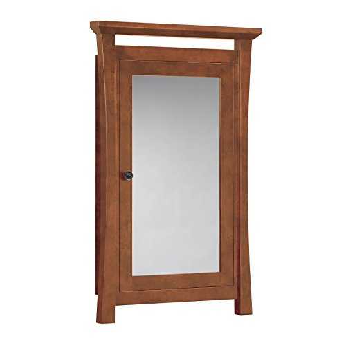 MAYKKE Sachi 25'' W x 39'' H Wood Framed Medicine Cabinet with Mirror and Shelf, Natural Cherry, YSA2150102 by Maykke