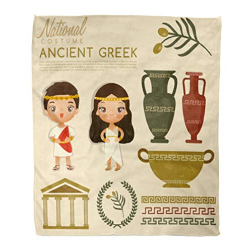 Golee Throw Blanket Woman Ancient Greek Traditional Costumes Dress People Roman Beautiful Boy 50x60 Inches Warm Fuzzy Soft Blanket for Bed Sofa for $<!--$39.90-->
