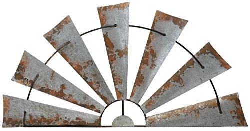Special T Imports Galvanized Metal Half-Windmill Wall Sculpture (30
