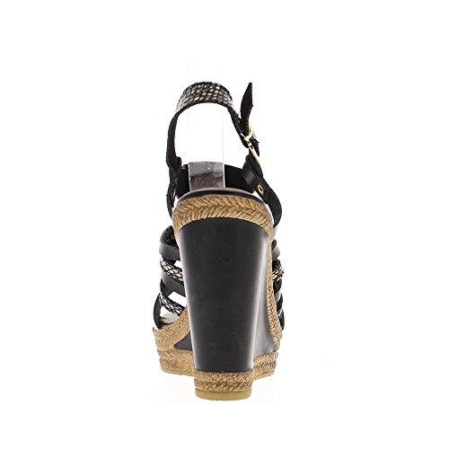 Sandalias de cuña negro tacon 12cm y bandeja delantera