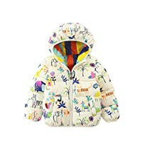 HROUEN Infant Girls Coat Lightweight Warm Cartoon Printed Baby Wear Winter Down Cotton Outfits Jacket Clothes, White 18-24 Months