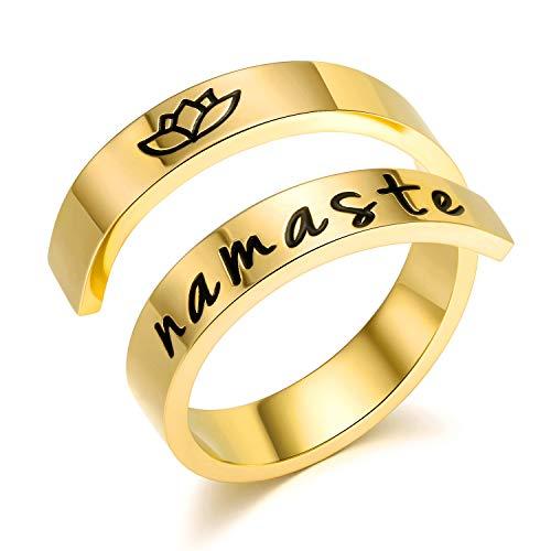 Pophylis Namaste Ring with Lotus 14K Gold Filled Bypass Band for Midi Finger