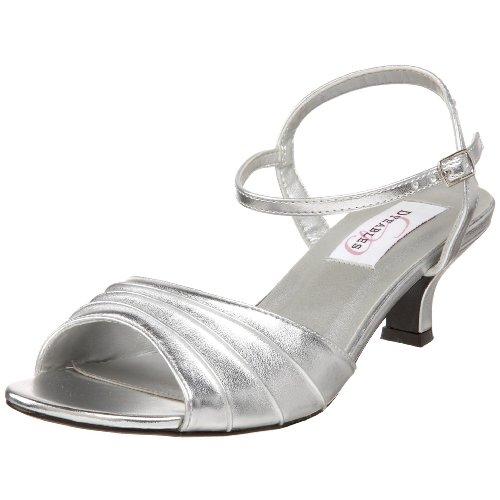 Dyeables Women's Brielle Ankle-Strap Sandal,Silver Metallic,8 M US (Heels Satin Metallic)
