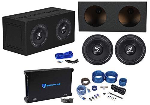 (2) Rockville W12K6D2 V2 12″ 4800w Subwoofers+Sealed Enclosure+Amplifier+Amp Kit