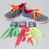 SHOELACES 4AST BRIGHT NEON COLOR PINK/GRN/ORG/YELLOW IN 24PC PDQ, Case Pack of 24