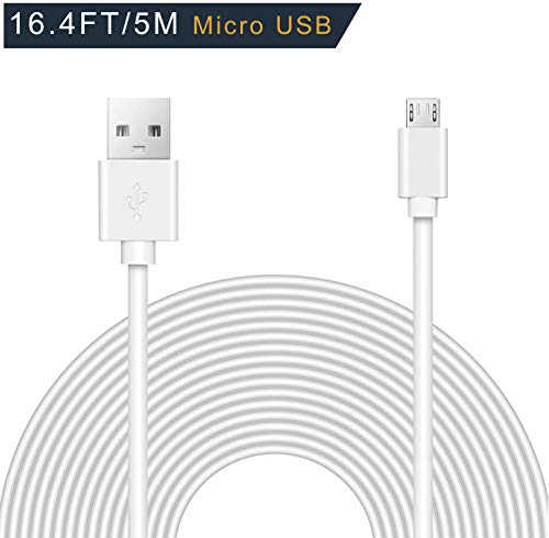 (Drimran 16.4 Feet/ 5 Meter Long Micro USB Cable, Fast Charging Cable/ Sync Cord, USB 2.0 A-Male To Micro B Cable for Android Phone PS4 Samsung Galaxy HTC Echo Dot Camera Kindle and More, White)