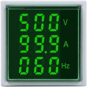 Ququack 22mmインジケータースクエアLEDデジタル電圧電流周波数メーター信号ライトコンボメーターテスターグリーン