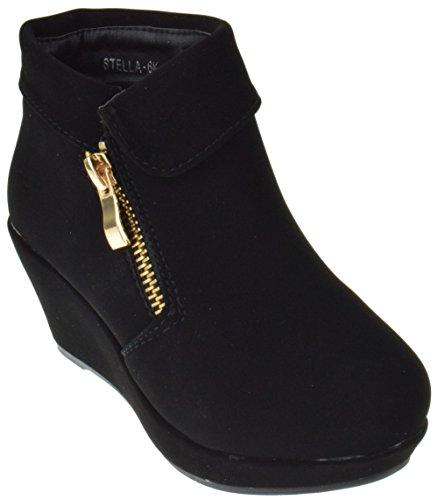 Stella 6K Little Girls Zip Up Ankle Wedge Booties Black