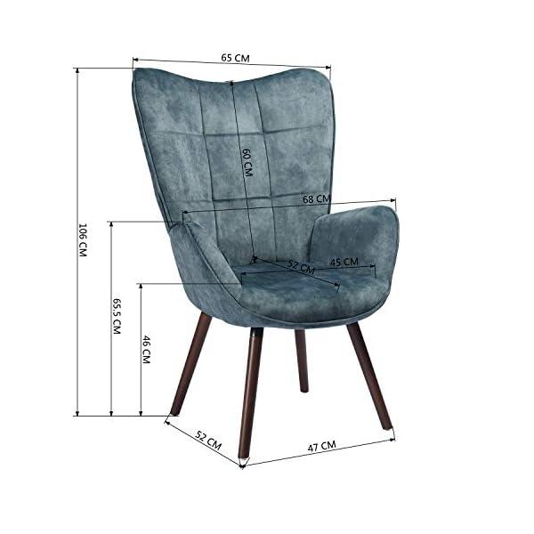 MEUBLE COSY Grand Fauteuil au style scandinave avec un revêtement en tissu bleu, des accoudoirs rembourés et des pieds en Bois massif (Foncé Hêtre) , Bleu et Foncé Hêtre /bleu