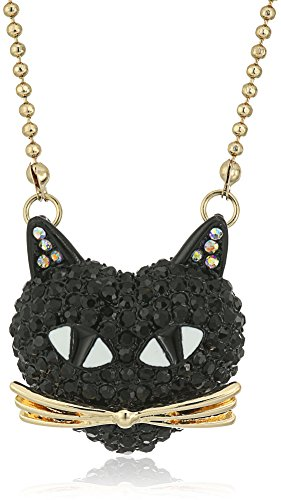 "Betsey Johnson ""Skeletons After Dark"" Pave Cat Pendant Necklace, 16"" + 3"" Extender"