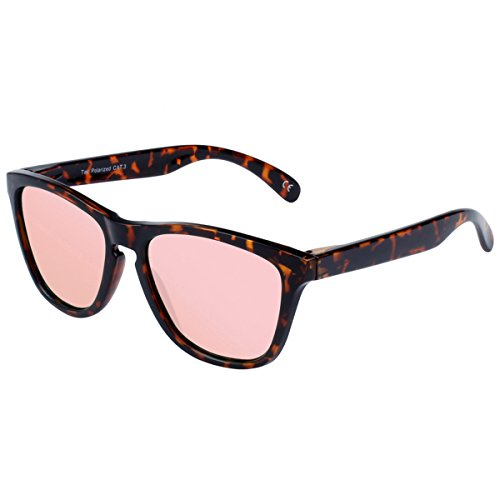 FEIDU Polarized Men Wayfarer Sunglasses Classic Mirror Eyewear Unisex FD 0628 (Leopard - Pink, 2.08) - Wayfarer Sunglasses Clear