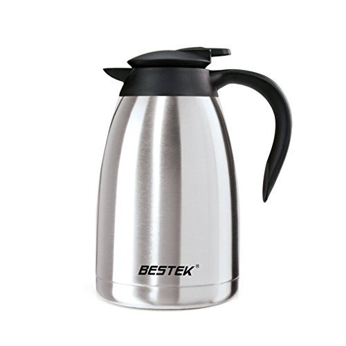 BESTEK Coffee Carafe With Press Button Double Wall Vacuum Insulated Stainless Steel Coffee Thermal Carafe Milk Heat Cold Retention Carafe With Lid Thermal Pitcher,50 Ounce BTCP3803A