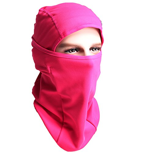 Winter Balaclava - Windproof Ski MasK-Cold Weather Face Mask Motorcycle Neck Warmer Cycling Beanie or Tactical Balaclava Hood - Thermal Comfortable Moisture Wicking-for Men Women Boys Girls (Pink F) Neck Gear