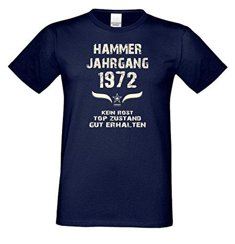 Geburtstagsshirt Mode Herren Geburtsjahr Hammer Jahrgang 1972 Geschenk zum 45. Geburtstag Freizeitlook Geschenkartikel Farbe: navy-blau Gr: S