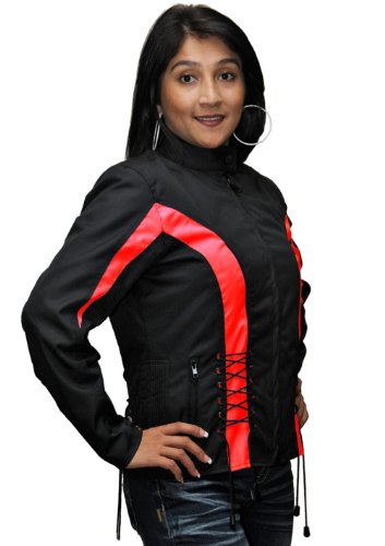 Ladies Textile Crystal Jacket Black & Red