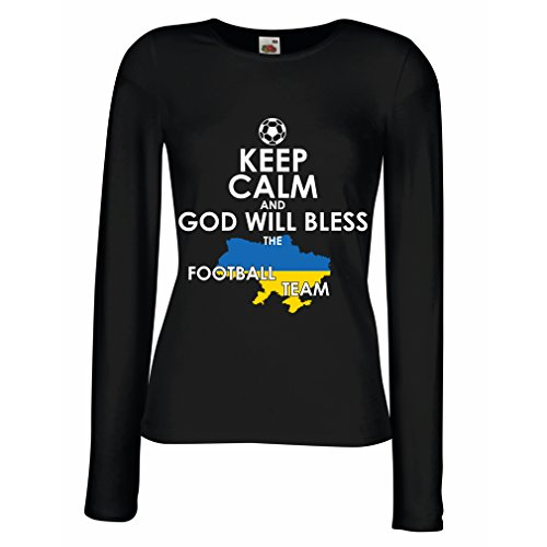 fan products of N4470M Female Long Sleeves T-Shirt Keep Calm, God Will Bless The Ukrainian Football Team (Large Black Multicolor)