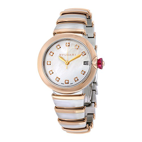 Bvlgari LVCEA Automatic White Mother of Pearl Diamond Dial Ladies Watch 102198