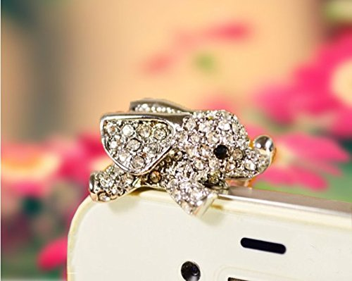 Tiny Chou Cute Bling Crystal Diamond Silver Elephant 3.5 mm Cell Phone Charm Anti Dust Plug Earphone Cap Headphone Jack Accessory for iphone 6 Plus/6/5s/5,ipods,ipads,Samsung Galaxy Series&Note Series