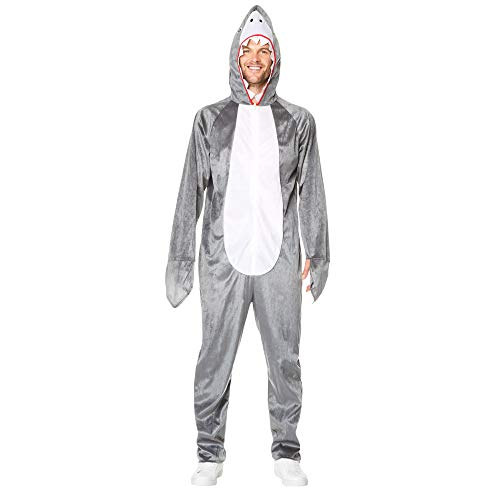 Shark Pajama Costume - Halloween Mens Hooded Onesie with Plush Fin, Gray, XL ()