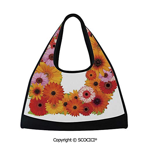 - Fitness bag,Alphabet Symbol with Various Different Daisies Chamomiles Colorful Summer Petals Decorative,Easy to Carry(18.5x6.7x20 in) Multicolor