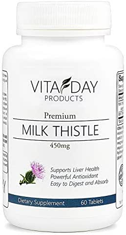 Milk Thistle Pure Extract - Silymarin for Liver Cleanse, Liver Detox, Liver Support and Antioxidant - 60 Easy to Digest 450mg Tablets - with Liver Bonus Report with Every Purchase!