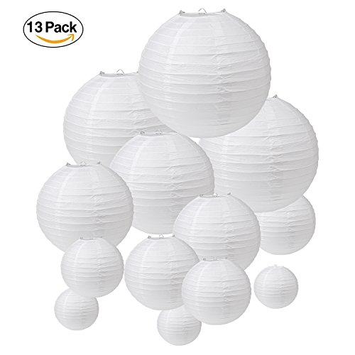 "13 Pack White Paper Lanterns, Chinese/Japanese Style Decorative Hanging Rounding Lamp with Assorted 5 Sizes - 12""/10""/8""/6""/4"" for Wedding Party Festivals House Office Outdoor (Extra Large Outdoor Lantern)"