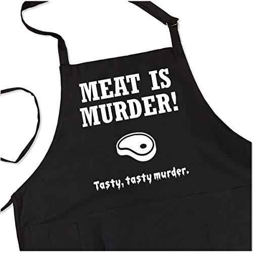 Meat is Murder - Tasty, Tasty Murder Apron - Funny Meat Lover BBQ Grill Apron - 1 Size Fits All Chef Quality Poly/Cotton with Pockets, Adjustable Neck and Long Waist Ties