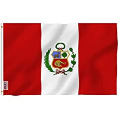 Peru Polyester Flag by ANLEY - Vivid Color and UV Fade Resistant - Canvas Header and Double StitchedQuality MaterialMade of durable polyester. Double stitched all around the edge and strengthened by canvas header and two brass grommets. You w...