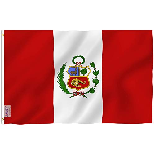 Anley Fly Breeze 3x5 Foot Peru Flag - Vivid Color and UV Fade Resistant - Canvas Header and Double Stitched - Peruvian National Flags Polyester with Brass Grommets 3 X 5 Ft