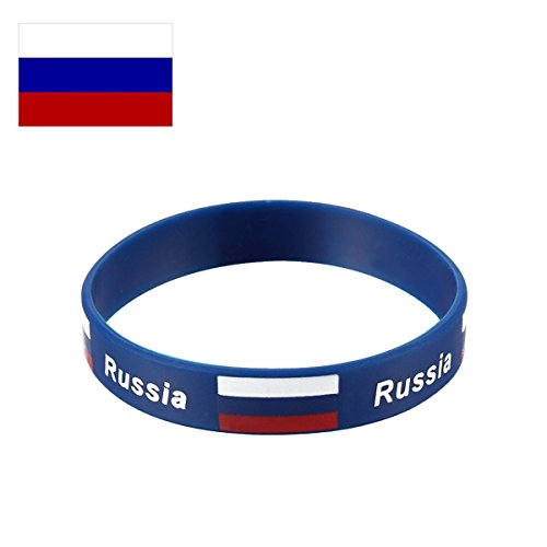 TDoperator Russia Flag Silicone Bracelet FIFA World Cup 2018 For Soccer Fan Unisex Design Soft and Durable Wristband for National Football Supporters Fans Fashion Sport Wrist Strap Souvenir Gift ()