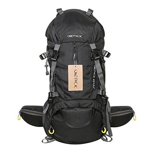 Price comparison product image ONEPACK 70L(65+5) Hiking Backpack Waterproof Backpacking Outdoor Sport Daypack for Climbing Mountaineering Camping Fishing Travel Cycling Skiing with Rain Cover (70 Black)