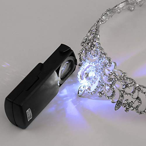 1pc Mini Pocket 30x21mm Black Microscope LED fold eye Jewelry Loupe Pull Type Jewelry Magnifier with LED Light Jewelry Loupe