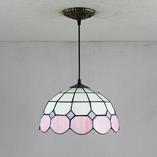 TOYM US-12 inch Tiffany European minimalist chandelier yellow pink ()
