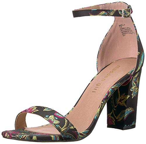 Madden Girl Women's BEELLA Heeled Sandal, Black/Pink Multi, 9 M US -