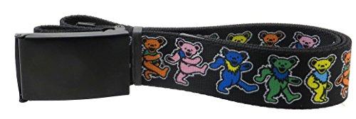 The Greatful Dead Web Belt 1.5 Wide Black Buckle Dancing Bears Black/Multi Color (Greatful Dead Bear)