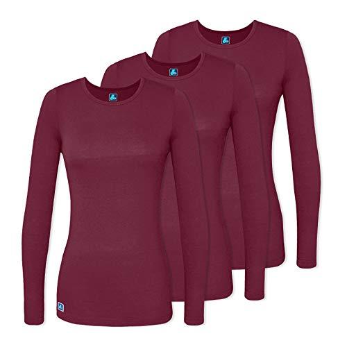 - Adar 3 Pack Women's Comfort Long Sleeve T-Shirt/Underscrub Tee - 2903 - Burgundy - XL
