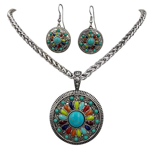 Bracelet Imitation Earrings Necklace (Gypsy Jewels Multi Color Simple Pendant Silver Tone Imitation Turquoise Boutique Style Statement Necklace & Dangle Earring Set (Round 1))