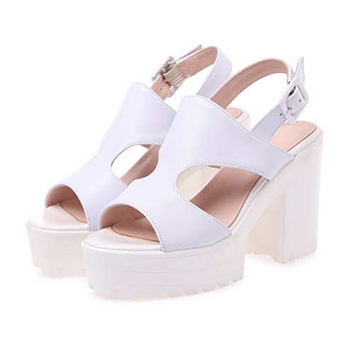 AllhqFashion Womens Open Round Toe High Heels Solid Cow Leather Sandals with Chunky Heels White jV0zmYH9