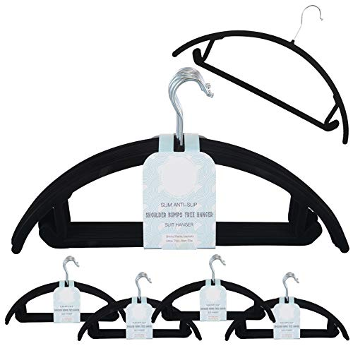 Voilamart 50 Pack Velvet Hangers Heavy Duty Ultra Thin Non Slip Space Saving Clothes Hanger (Black 50/Pack)