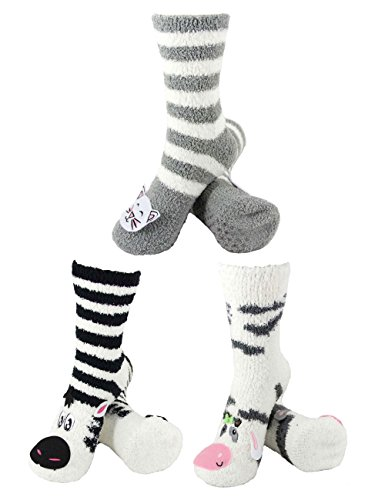 Super Soft Warm Cute Animal Non-Slip Fuzzy Crew Winter Home Socks - Assortment 13, 3 Pairs - Value Pack (Sock Fleece)